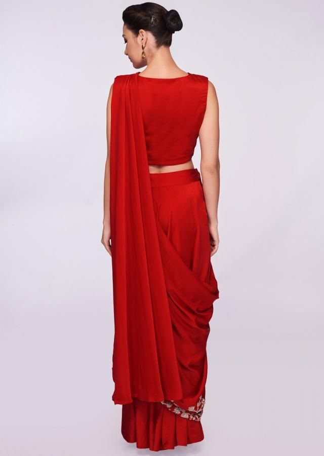 6febe284a Amruta Khanvilkar in kalki red satin ready pleated saree with stitched  pleats and pallo