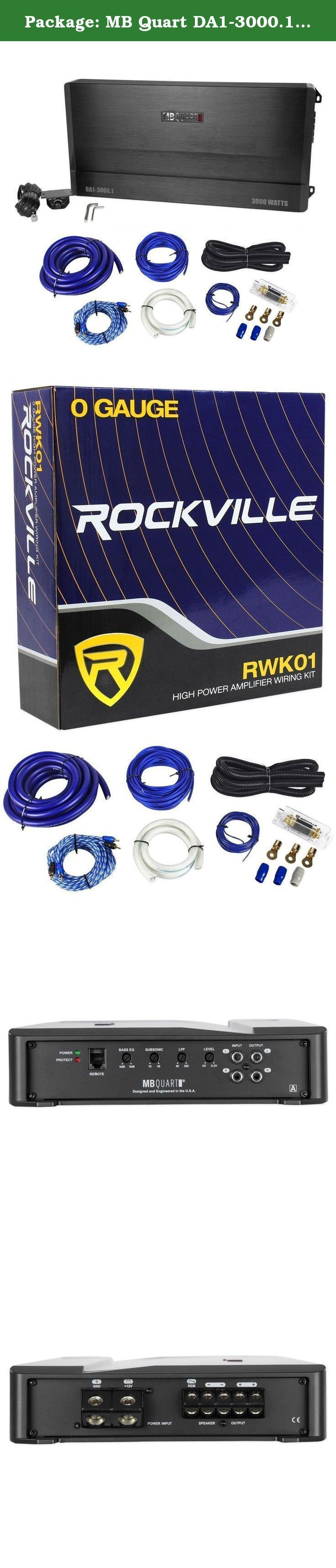 Package: MB Quart DA1-3000.1 3000 Watt RMS Mono Class D Car Audio Amplifier With Bass Remote + Rockville RWK01 0 Gauge Complete Car Amplifier Installation Kit with RCA Cables. Features: MB Quart DA1-3000.1 3000 Watt RMS Mono Class D Car Audio Amplifier Power Output: 3000 Watts x 1 Channel @ 1 ohms Power Output: 1500 Watts x 1 Channel @ 2 ohms Power Output: 750 Watts x 1 Channel @ 4 ohms Frequency Response: 10Hz-300Hz Signal to Noise Ratio: >95dB Bass Boost 0-12dB RCA Input Rockville RWK01…