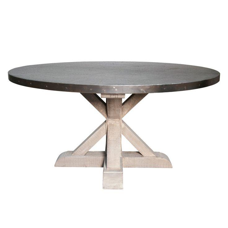noir zinc round dining table  paynes gray  round dining