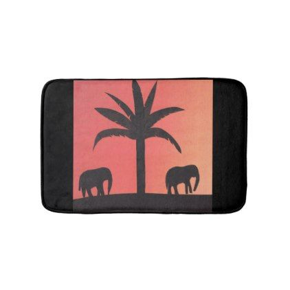 Small bath mat with elephant design - home gifts ideas decor special unique custom individual customized individualized