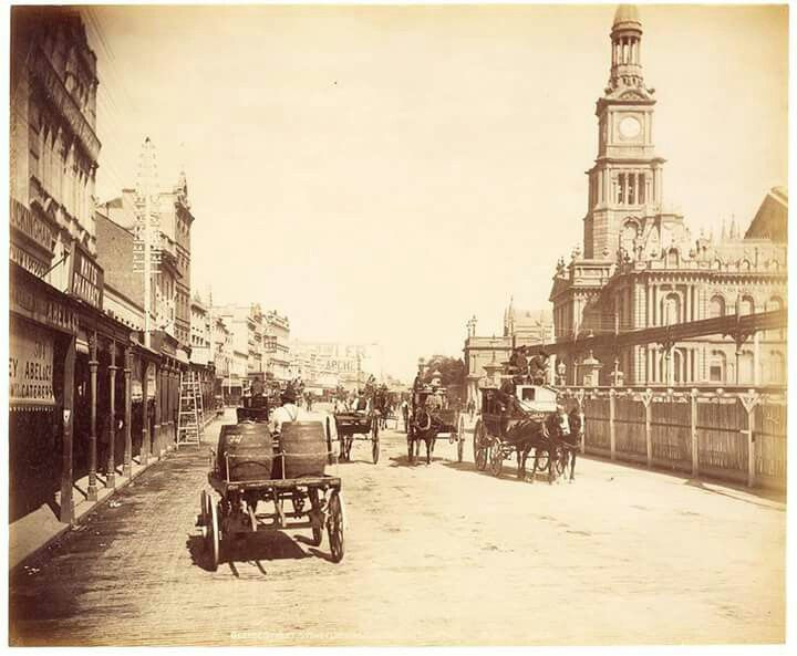 George St,Sydney in 1893.You can see Sydney's Town Hall on the right.A♥W