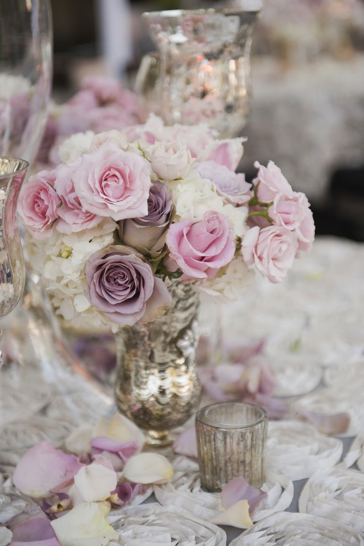 395 best lilacs and lavender wedding inspirations images on beautiful and soft pastel roses and hydrangeas with a silver vase makes a pretty and romantic centerpiece junglespirit Images