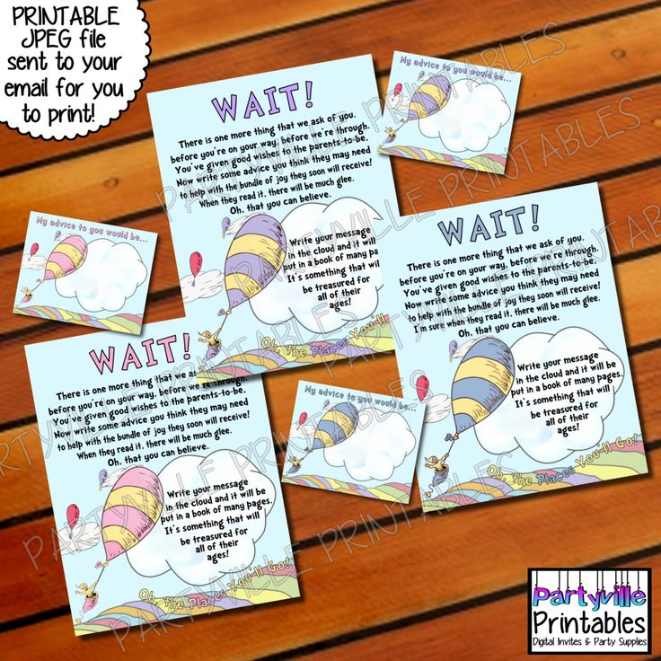 Dr. Seuss New Parent Advice Sign and Cards Baby Shower oh the places you'll go inspired invites Cat in the hat 3 colors to choose from by PartyvillePrintables on Etsy https://www.etsy.com/listing/202594386/dr-seuss-new-parent-advice-sign-and