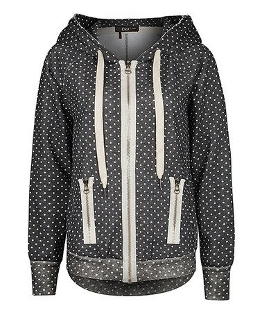 Look at this #zulilyfind! Charcoal & Ivory Polka Dot Zip-Up Hoodie by Dex #zulilyfinds