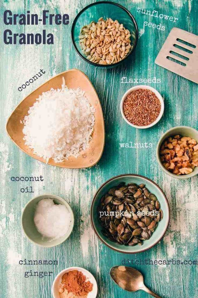 Sugar free and grain-free granola. See how easy it is to make and the 5 big mistakes people make for thinking granola and cereal is healthy. | ditchthecarbs.com