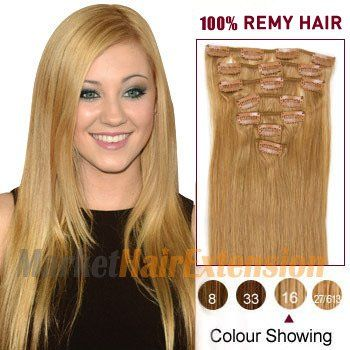 """18"""" Golden Blonde (#16) 7pcs Clip In Indian Remy Hair Extensions"""
