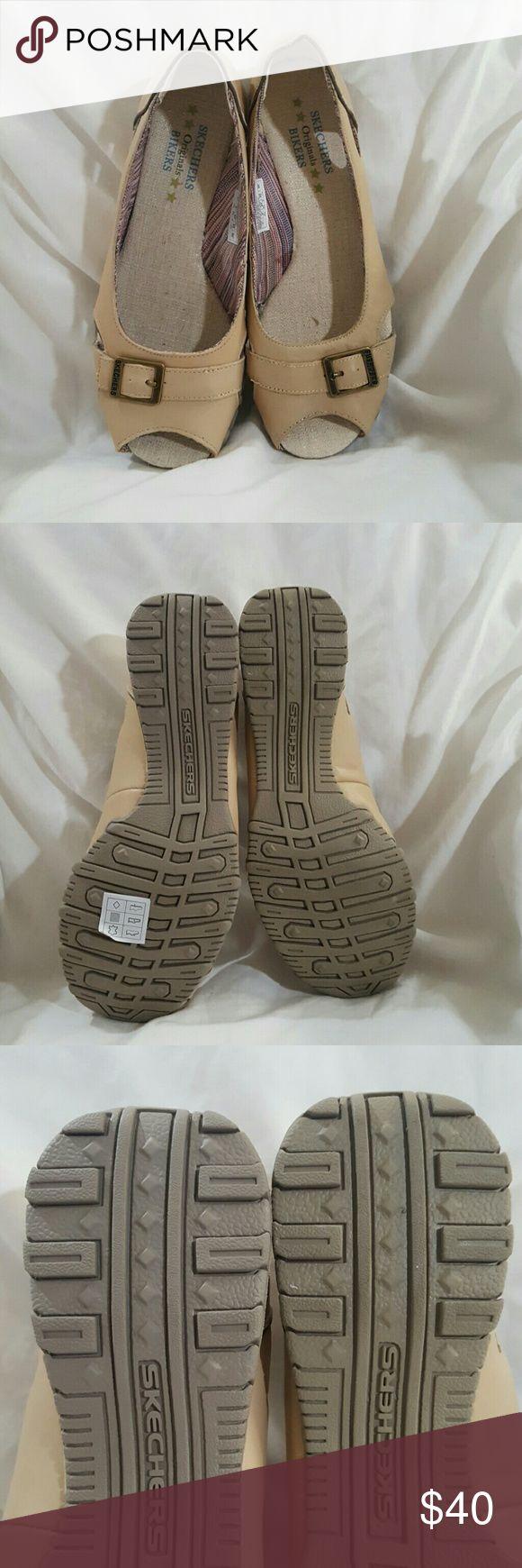 Skechers Bikers Originals tan open-toe flats EUC Color: tan No blemishes  Open toe flats Skechers Shoes Flats & Loafers