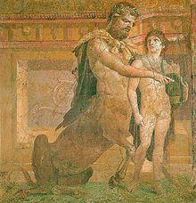 roman frescoes | Chiron instruisant le jeune Achille . Fresque de l' Herculanum…