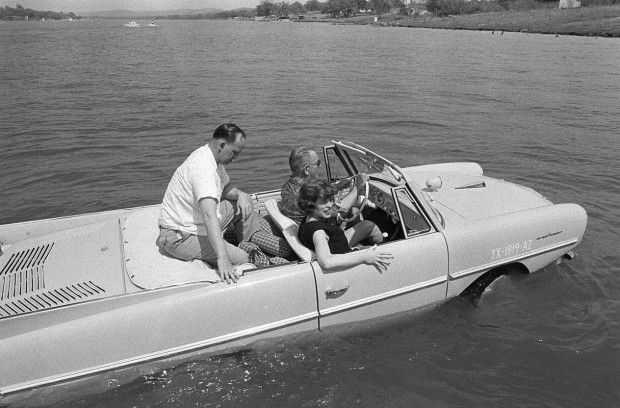 """1965:  President Lyndon B. Johnson's Amphibious car    """"President Lyndon B. Johnson was known as an owner of an Amphicar. Apparently he liked to scare new visitors to his ranch by driving them downhill in his Amphicar directly into his property's lake, all the while shouting that the brakes had broken"""""""