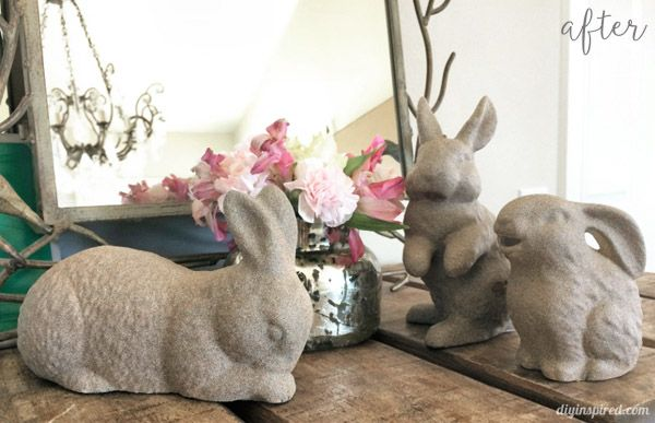Pebble Painted Bunnies - thrift store bunnies painted with texture spray paint!