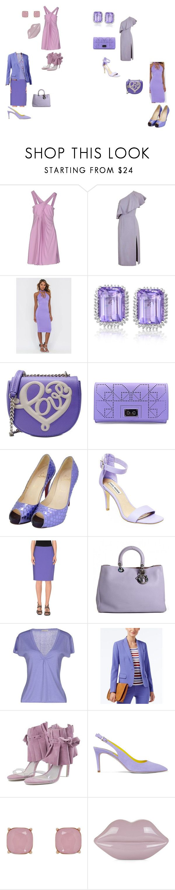 """lilac dresses"" by effyswanhaze ❤ liked on Polyvore featuring Versace Jeans Couture, Topshop, Love Moschino, Danielle Nicole, Christian Louboutin, Steve Madden, Alberta Ferretti, Christian Dior, Maria Di Ripabianca and Anne Klein"
