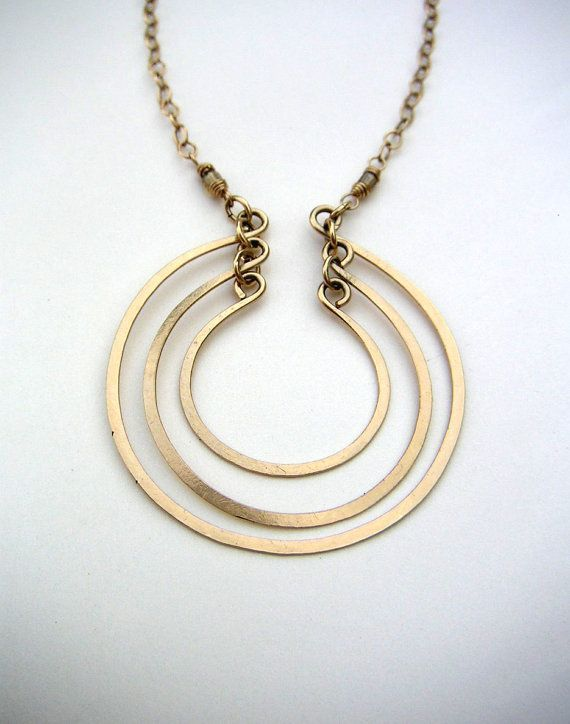 Open rings circle necklace. Wire jewelry. Wire Pendant. Modern with an elegant energy, three hand-shaped and hammered gold fill open circles