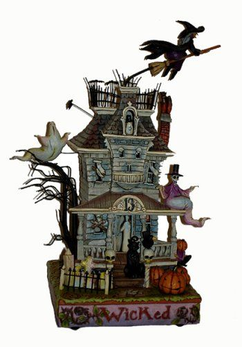 "$134.00-$134.95 JIM SHORE HALLOWEEN HAUNTED HOUSE LIGHTED "" 2008~~Lights up, makes  Spooky Sounds   13.5"" H   From the Jim Shore Heartwood Creek . JIM SHORE , a native of South Carolina, Jim Shore utilizes his skills as a portaitist, sculptor and folk artist to create his uniquie and creative collection . This beautiful stone resin figurine would also make a wonderful gift. The figurine is new in o ..."