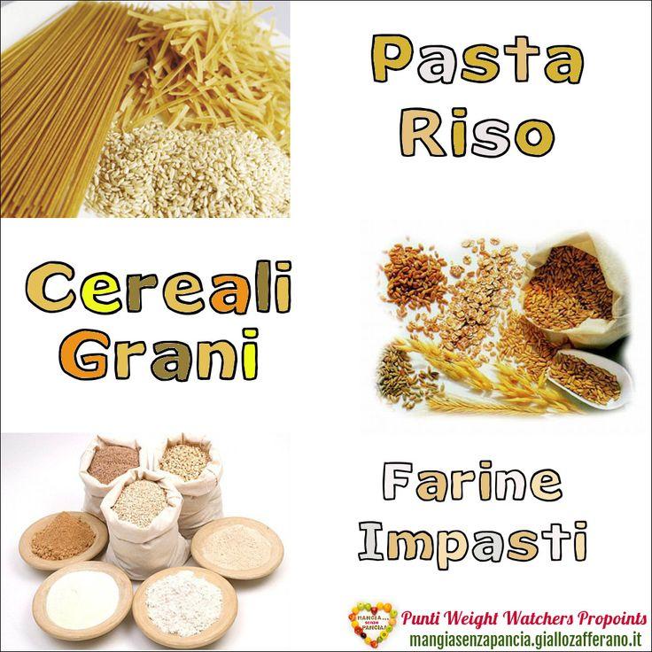 Lista Punti Weight Watchers Pasta Riso Cereali e Farina per calcolarne il valore da inserire nel diario alimentare quotidiano