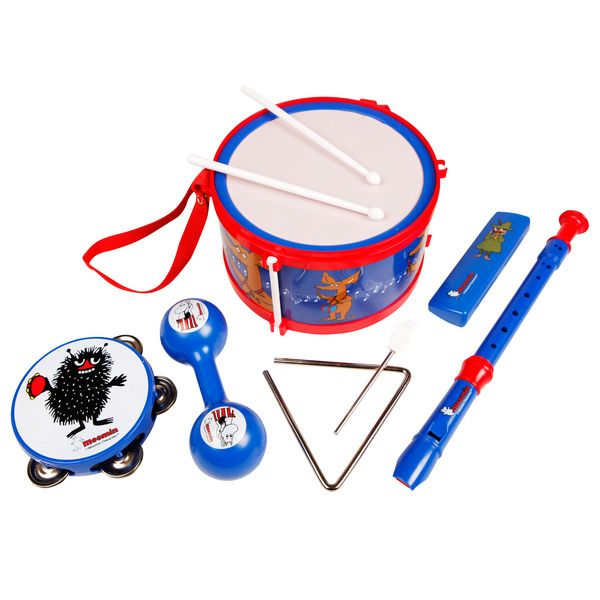 A set of Moomin instruments. Includes a drum, a tamburine, a triangle, a fluite,  a harmonica and a maraca.