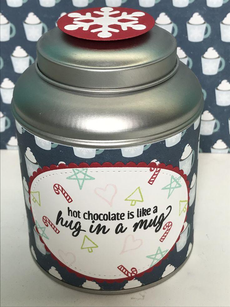 Teedose, Stampin' Up!, Designerpapier von Echo Park, heiße Schokolade