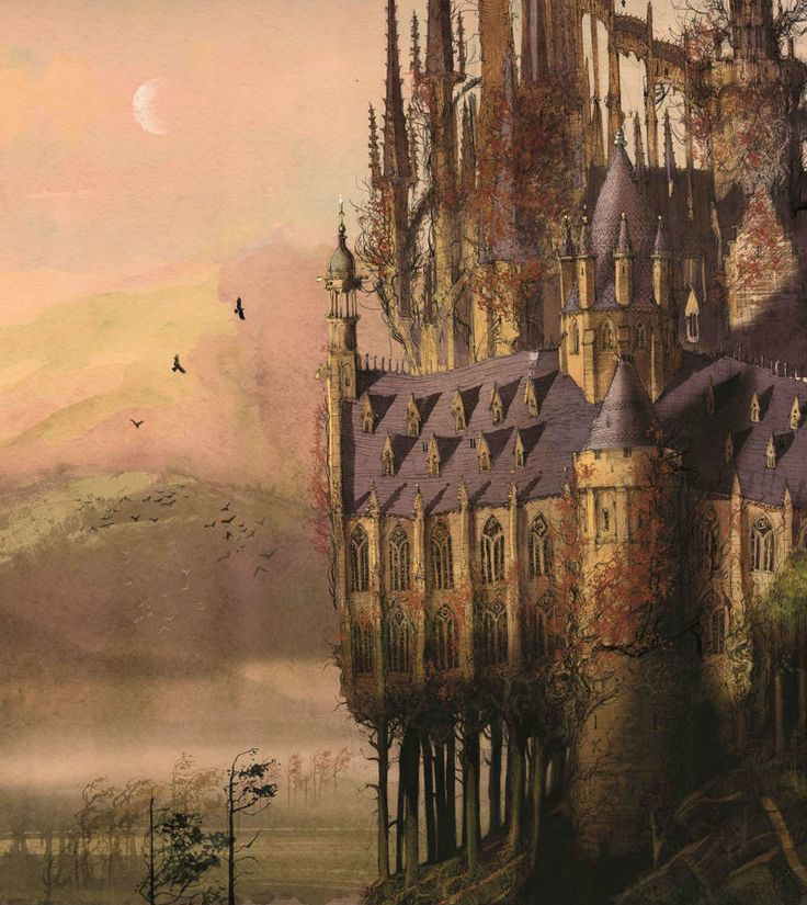 Hogwarts Castle, from Jim Kay's illustrated edition of Harry Potter and the Sorcerer's Stone. (via i09) It's wonderfully evocative, and the trees are interesting, but I don't remember anything in the text about part of the castle being supported by trees...