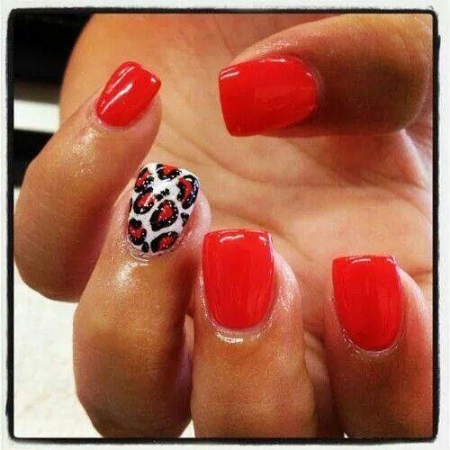 Red, White and Black Cheetah Nails