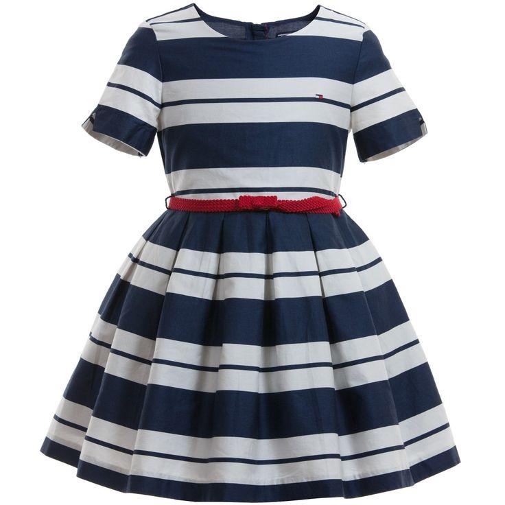 Navy Blue & Ivory '' Stripe Dress Emy, Tommy Hilfiger, dziewczyna
