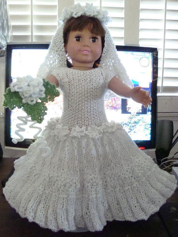 Ladyfingers - AG doll - Wedding Gown, Veil, Garter, Bridal Bouquet free knitting pattern: