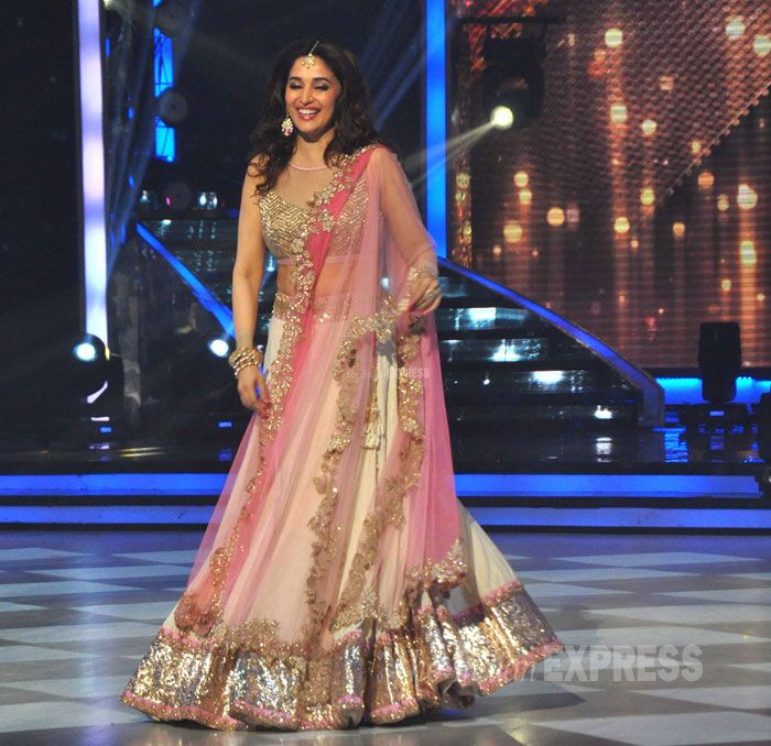 Madhuri Dixit looked beautiful in a pink-golden lehenga at the 'Jhalak Dikhhla Jaa' finale.