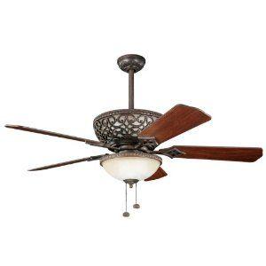 Amazon $394 Kichler Lighting 300113TZ Cortez 52-Inch Ceiling Fan with Reversible Walnut/Cherry Blade, Tannery Bronze