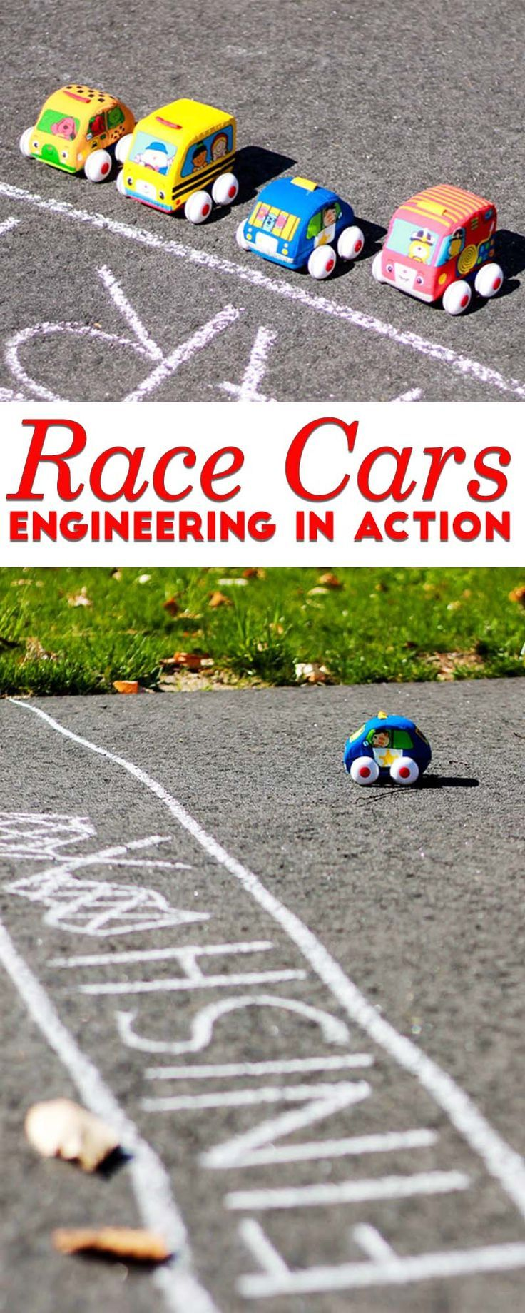 Engineering toys don't have to be expensive or complicated. Hands-on active learning with toys you already have... race cars!