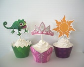 Rapunzel cupcake wrappers & toppers