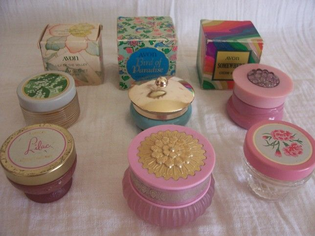 Vintage Avon cream perfume from the 60s and 70s. I remember my mum had the birds of paradise one with the gold lid. Most of them still retain the perfume which is still scented!