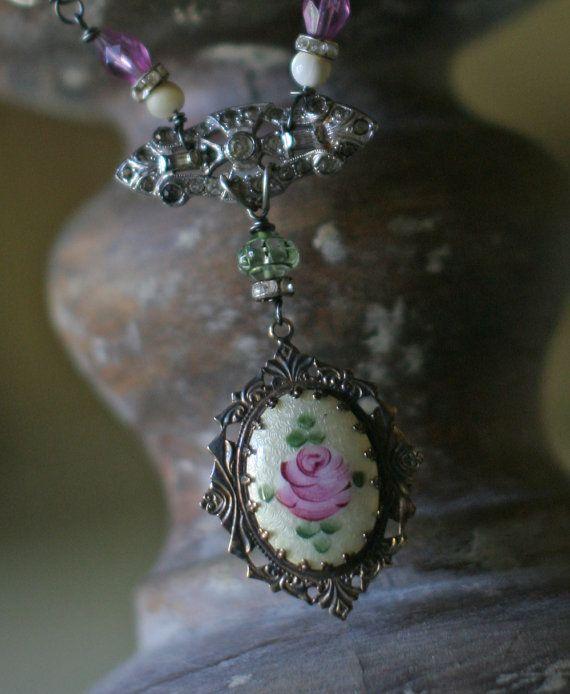 Christmas Rose Jardin  assemblage necklace crownedbygrace.etsy.com