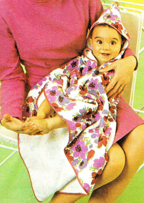 PDF Vintage 1960s Cute Baby Pixie Hood Towel Wrap or Blanket Sewing Pattern, in Floral Towelling, Pretty, Kitsch, Multi-Purpose,  Snuggly