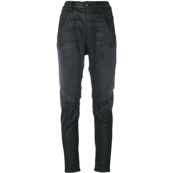 Diesel Coated Tapered Jeans (21,840 INR) ❤ liked on Polyvore featuring jeans, tapered jeans, dark blue jeans, tapered fit jeans, tapered cut jeans and diesel jeans