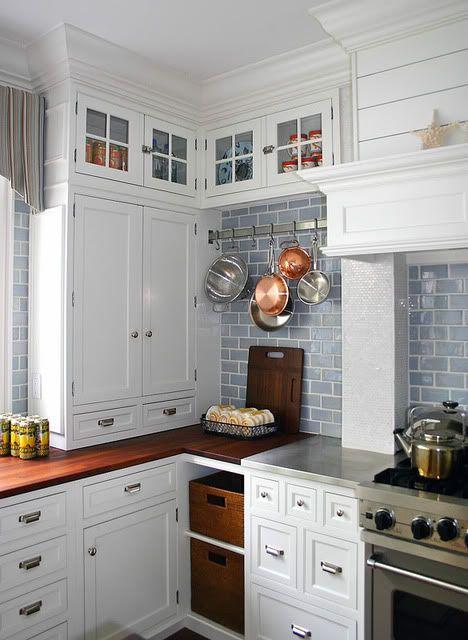 white kitchen, gray subway tiles  Beautiful design  Pinterest