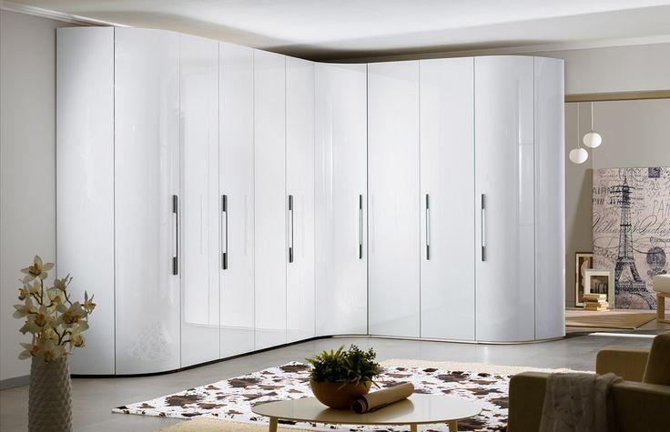 Шикарный угловой шкаф с радиусными фасадами | Дизайн интерьера современной спальни #астрон #мебель #astron #спальни #шкаф