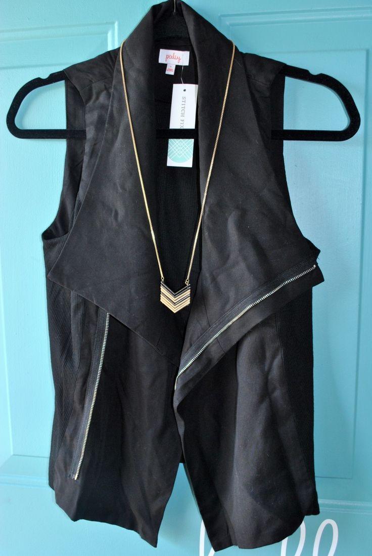 Stitch Fix Vest and Chevron Necklace petitemomliving.com @stitchfix