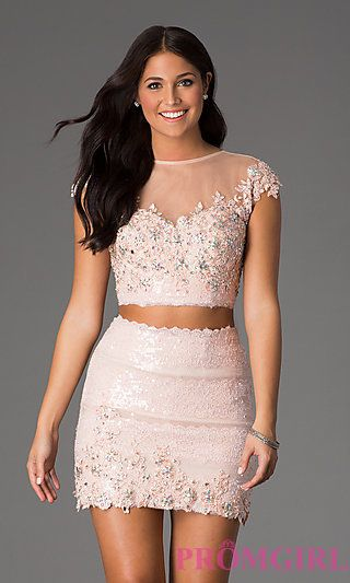 Short Two Piece Lace Dress at PromGirl.com  KC-15109