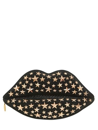 LULU GUINNESS - STUDDED SUEDE & SNAKESKIN LIP CLUTCH - LUISAVIAROMA - LUXURY SHOPPING WORLDWIDE SHIPPING - FLORENCE