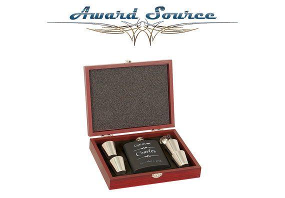 Wedding Flask Gift Set ~ With Free Engraving ~ 6 oz Matte Black Stainless Steel Flask Gift Set