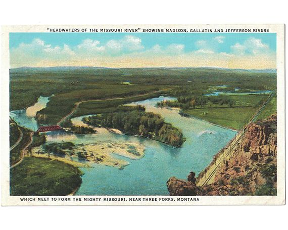 This vintage postcard, circa 1930s, features the confluence of the Madison, Gallatin, and Jefferson rivers at Three Forks, Montana, forming the Missouri River.