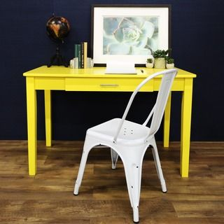 "Shop for 48"" Wood Writing Desk - Yellow. Get free delivery at Overstock.com…"
