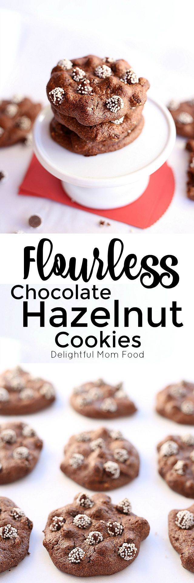 Flourless Cookies Recipe packed with protein from hazelnuts and egg whites! Sweetened with Maple Syrup and chocolate morsels.
