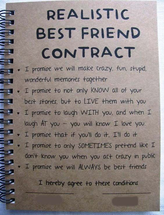 Realistic Best Friend Contract Friendship Quotes Best