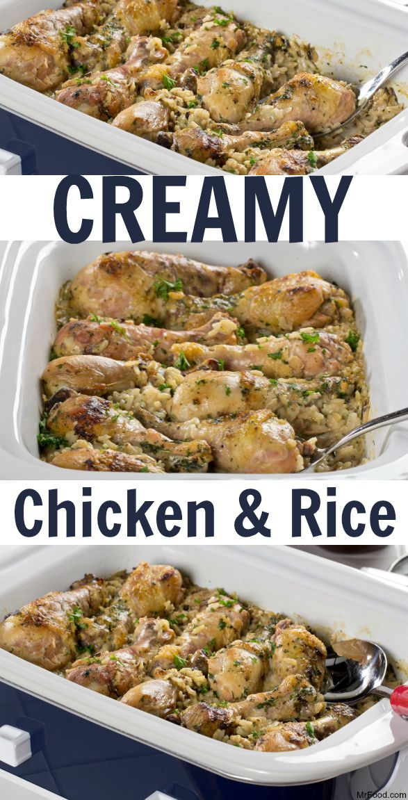 Creamy Chicken And Rice Creamy Chicken And Ricechicken Ricecrockpot Chicken Leg