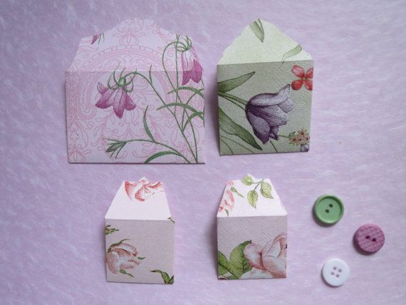 Set of Four Miniature Envelopes...scrapbooking by LinLovesPaper