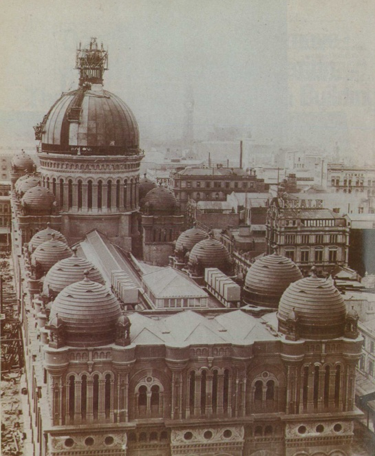 1898: Queen Victoria Building,Sydney...the exquisite central copper clad dome under construction.