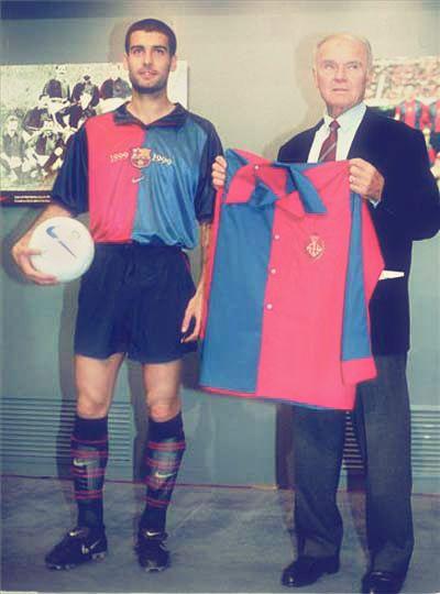 Guardiola i Kubala durant un acte de celebració del centenari del Barça