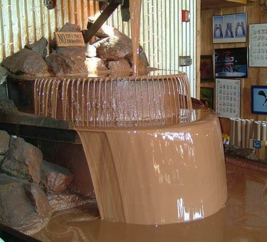 Worlds Largest Chocolate Waterfall, Anchorage, Alaska  Just might have to stop by to see it
