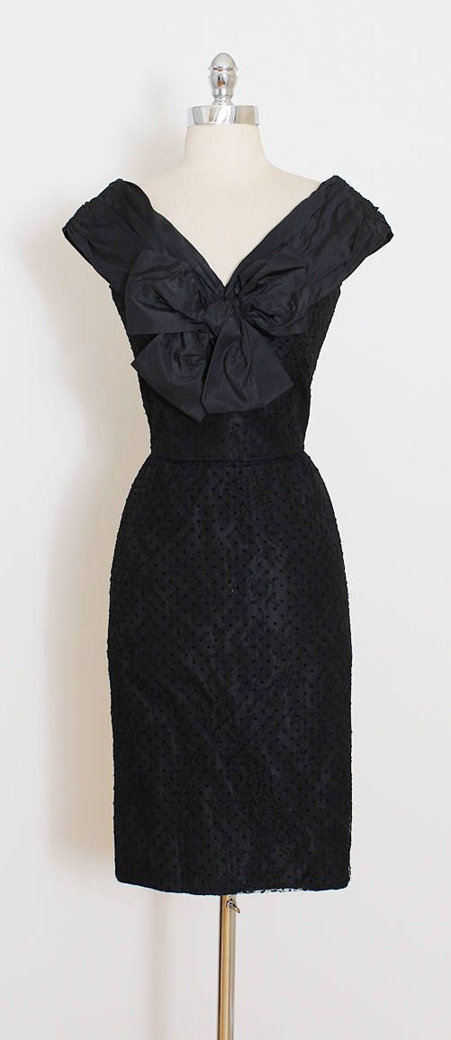 ➳ vintage 1950s dress * black silk taffeta * flocked polka dot print * floral lace tulle * silk taffeta lining * large bow accent * metal back zipper * by Lanvin condition   excellent - one tiny pinhead sized hole at back of collar.  fits like xs/s  length 38 bodice 15 bust 36 waist 25 hips 40 hem allowance 2.5  ➳ shop http://www.etsy.com/shop/millstreetvintage?ref=si_shop  ➳ shop policies http://www.etsy.com/shop/millstreetvintage/polic...