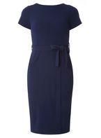 Womens Petite Navy Wrap Pencil Dress- Blue