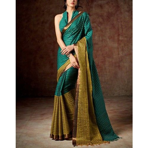 Shop Online Cotton Silk Green Stripe Print Saree - S0015 @ Rs.1350 at Indiarush. Best Discount ✓ Cash on Delivery ✓ Free Shipping✦ ✓15 Days Return ✓ All India Shipping.
